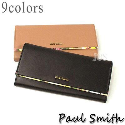 ポールスミス 財布 メンズ レディース Paul Smith フラワーポイント かぶせ長財布 全9色 送料無料 代引き料有料 消費税込