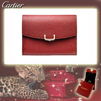 C ドゥ カルティエ 2 Cartier インターナショナル ワレット コンパクト レッド