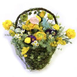 バスケット(アートフラワー) 送料無料 限定品アートフラワーM ミモザバスケット ル・レーブ Le Reve 1点物 15Aフラワーアレンジメント・造花