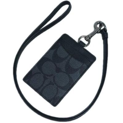 コーチ カードケース F58106-CQ/BK COACH メンズ ランヤード IDホルダー たて型 シグネチャー PVC チャコール/ブラック ガンメタ金具 アウトレット あす楽対応