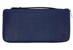 ロエベ 財布(メンズ) ロエベ 財布 101.88.M79 LOEWE メンズ ラウンドファスナー長財布 大 トラベルケース リネン カーフネイビーブルー アウトレット あす楽対応