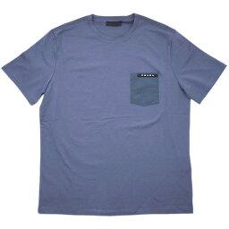 プラダ 【新品】 プラダ Tシャツ SJN250 メンズ 半袖 クルーネック コットン/エラステイン AVIAZIONE ブルー Mサイズ アウトレット