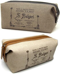 ブルガリ BVLGARI ブルガリ化粧ポーチ 小物入れコレツィオーネブラウン 32067ナチュラル 32068COLLEZIONE 1910 CANVASポーチ バニティーバッグ