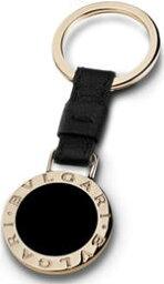 ブルガリ キーホルダー(レディース) BVLGARI キーリング ブルガリブラックカーフレザー×ゴールドリングホルダーゴールド刻印ロゴプレートキーホルダー リングホルダAccessory Jewellery Keyholder Keyring