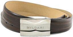 ブルガリ ベルト(メンズ) BVLGARI ブルガリ メンズレザーベルトロゴ刻印プレートバックル ダークブラウンビジネス&プライベートにカット調整可能 フリーサイズスムースカーフレザービジネス用としてもオススメ茶色 BELT SMOOTH LEATHER