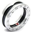 ブルガリブルガリ 指輪(レディース) BVLGARI ブルガリ スターリングシルバー指輪 1バンドリング ブラックセラミックスターリングシルバー925 レッドプチロゴRING 1-band sterling silver ring with black ceramicロゴ刻印