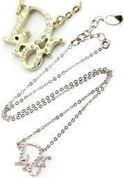ディオール ネックレス(レディース) Christian Diorクリスチャンディオールペンダントネックレスラインストーントロッタロゴプレートシルバー ゴールドPendant Necklaceプレゼントに最適