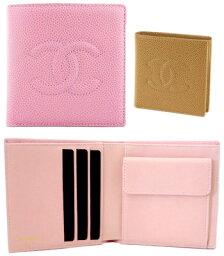 シャネル 二つ折り財布(レディース) シャネル 財布 CHANEL A13507小銭入れ付き 2つ折り財布キャビアスキン 13507 サイフ二つ折り財布 CCマークローズピンク ベージュ