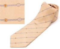 シャネル ネクタイ シャネル ネクタイCHANEL ライトピンク系 ストライプ スター&マイクロCCロゴ刺繍 メンズ スーツネクタイNTK00482
