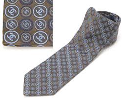 シャネル ネクタイ シャネル ネクタイCHANEL ブラウン系 ストライプ マイクロCCロゴ刺繍 メンズ スーツネクタイNTK00486