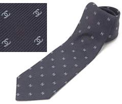 シャネル ネクタイ シャネル ネクタイCHANEL ネイビー系 グレー系 マイクロCCロゴ刺繍 メンズ スーツネクタイNTK00502 NTK00499