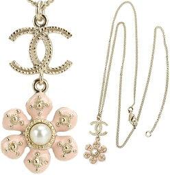 シャネル ネックレス(レディース) CHANEL シャネルペンダントネックレスピンク花びら×パールホワイトゴールドココマークゴールドCCトップドロップピンクフラワーPENDANT NECKLACE Z5302GDPKCCマーク アクセサリーCOCO Flower Pearl Necklace Pink Gold