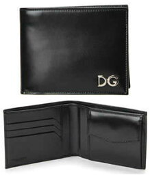 D&G 二つ折り財布(メンズ) ドルチェ&ガッバーナ 財布DOLCE&GABBANA ドルガバメンズ 小銭入れ付き二つ折り財布 ブラック DGロゴプレート2つ折り財布 札入れ ウォレット サイフ さいふD&G ディー&ジーBP0457 A5476 80999