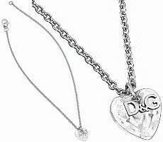 ドルガバ ネックレス(レディース) D&G Jewelryドルチェ&ガッバーナ ジュエリーペンダントネックレスクリアクリスタル立体ハート&ロゴプレートダブルトップアクセサリー プレゼントとしてレディースDOLCE&GABBANA ドルガバDJ1058 Calamity JanePENDANT NECKLACE