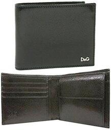 D&G 二つ折り財布(メンズ) DOLCE&GABBANAドルチェ&ガッバーナメンズ二つ折財布 小銭入れブラック 80999ロゴプレート 型押しカーフスキンDPA237-E1788さいふ サイフ ウォレットD&G ドルガバ ディーアンドジー