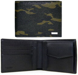 D&G 二つ折り財布(メンズ) DOLCE&GABBANAメンズ 小銭入れ付き二つ折財布カモフラージュ カーキグリーン×ブラック刻印ロゴプレート型押しカーフ 迷彩柄camouflageドルチェ&ガッバーナ ドルガバD&G ディー&ジーA352187162 BH627021