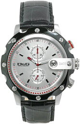 sean 腕時計(メンズ) DOLCE&GABBANA D&G WATCHドルチェ&ガッバーナドルガバ ウォッチ ショーン腕時計 SEAN クロノグラフシルバー文字盤×型押しレザーベルトSean Men's Leather Chronograph Watch DW0366BK