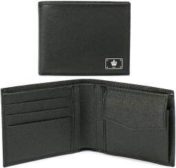 D&G 二つ折り財布(メンズ) DOLCE&GABBANA D&Gドルチェ&ガッバーナ メンズ小銭入れ付き二つ折り財布クラウンDGロゴプレートブラック ダークネイビーブルードルガバ 2つ折り財布型押しドーフィンカーフレザーD&G ディー&ジーSTAMPA DAUPHINE+PALLADIOFH8068DNV