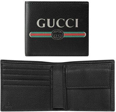 GUCCI グッチメンズ 小銭入れ付き2つ折り財布型押しカーフレザーグリーン×レッド ウエブライン8163BK ブラックレトロロゴレザーコインウォレット さいふ サイフインターロッキングロゴ 二つ折り財布