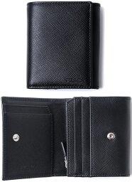 プラダ 二つ折り財布(メンズ) PRADA プラダ メンズL字ファスナー小銭入れ付き2つ折り財布エンボスロゴ ブラック サフィアノカーフレザー三角ロゴプレート ダークネイビー ブラックSAFFIANO CALF LEATHER F0002NERO二つ折り財布 さいふ サイフ ウォレット型押し革 エンボスロゴ