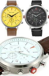 ポールスミス 腕時計 Paul Smith ポールスミス 腕時計watch Cycle Chronograph日付け表示付きアナログウォッチイエロー ライトグリーン ブラックダークネイビー ホワイト レザーバンドラウンドフェイスサイクルクロノグラフフラムルージュ六角形アルミリューズ