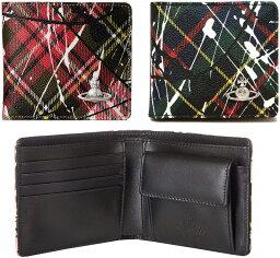 ヴィヴィアンウエストウッド 二つ折り財布(メンズ) Vivienne Westwood ヴィヴィアンウエストウッドメンズ小銭入れ付き二つ折り財布ダービースプラッシュペイントシルバーオーブプレートニューエキシビジョンレッド ハンティーンググリーンオーヴロゴ 2つ折り財布 タータンチェック