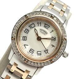 セリエ HERMES エルメス CP1.222 クリッパー レディース 腕時計 クオーツ シェル文字盤 アラビア ダイヤベゼル コンビ 3針 デイト 管理RY19002116