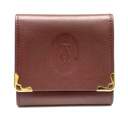 カルティエ Cartier カルティエ マストライン コンパクトウォレット コインケース 小銭入れ 財布 ボルドー 赤 レザー ブランド 管理RY21001133