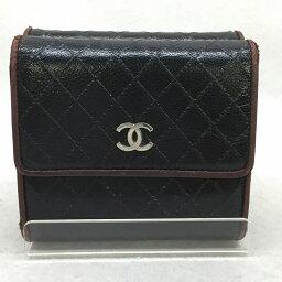 シャネル 二つ折り財布(レディース) CHANEL シャネル A33910 ビコローレ ダブルフラップ レディース レザー 二つ折り財布 コンパクト ココマーク ブラック 黒 管理YI10257