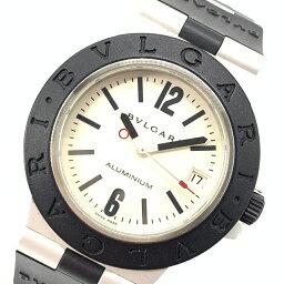 アルミニウム 腕時計(メンズ) BVLGARI ブルガリ AL38A アルミニウム 38mm メンズ オートマチック デイト 腕時計 ラバーベルト 白文字盤 ラバーベゼル 管理YI17942