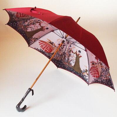 【両面ほぐし織】長傘『舞姫』ディープレッド(エンジ赤)モンブランヤマグチほぐし織り