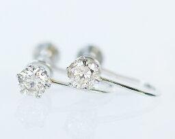 ダイヤモンド Pt 0.3ct ブラウンダイヤモンドイヤリング
