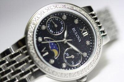 女性用のダイヤを埋め込んだBULOVA【ブローバ】ムーンフェイズ・レディースウォッチ/クォーツ腕時計