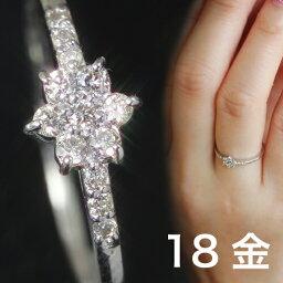 クレアージュ 18K 0.1ctダイヤモンド ゴールドリング 指輪 レディース・クレアージュ K18 18金 大人気パヴェとエタニティリングのいいとこどり! ピンクゴールド ホワイトゴールド ピンキーリング対応 華奢 シンプル 可愛い ファッションリング 花 雪 モチ ブランド 宝石 おしゃれ