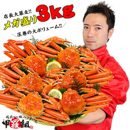 ズワイガニ 【メガ盛3kg】ボイルずわいがに姿6〜7ハイ食べ放題♪※業務用産地箱のため食べ方の説明書は同封不可【カニ】【かに】【蟹】【ズワイガニ】