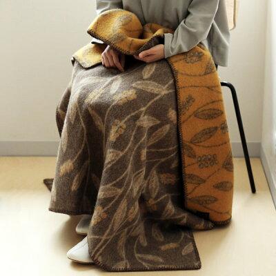 Roros TWEED (ロロスツイード) INAHO(イナホ)ブランケット(ピュアニューウール100%) 100×145 ブラウン/オークル 北欧雑貨/国内正規取扱店/北欧/インテリア/ウール/羊毛/毛布/膝掛け/ひざ掛け