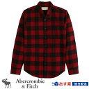 アバクロンビー&フィッチ正規品 アバクロ Abercrombie&Fitch 2021新作 メンズ ネルシャツ ボタンダウンシャツ Flannel Button-Up Shirt レッド バッファローチェック
