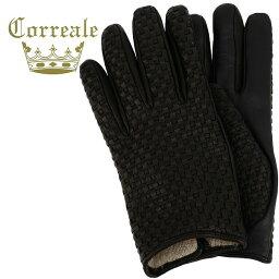 グローブス 手袋(メンズ) 国内正規品 即日発送 Correale gloves コレアーレグローブス メンズ イントレチャート タッチパネル対応 シープスキン ナッパレザー カシミアライニング グローブ CRM-6039(ブラック)