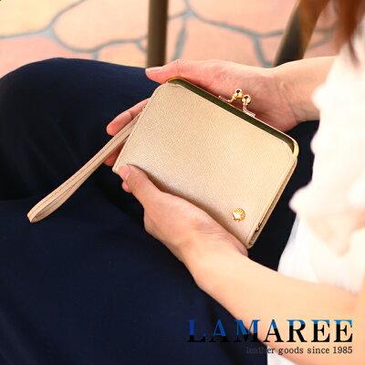 656373448d8a 【初回個数限定】【新作】ラマーレ pearl パール 二つ折り財布 がま口 コンパクト