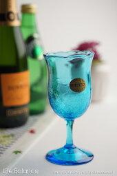 琉球ガラス 琉球ガラス ワイングラス【上地 広明 琉球ガラス王国】チューリップワイングラス 水(741-0089)