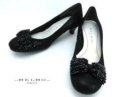 メルモ 『メルモ』ML7368 レディース/婦人靴/リボン飾り/天然皮革ゆったり【日本製】【2E】約4cmヒール 【ブラック】22cm