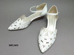 メルモ メルモ ML7455 W婦人靴 レディース パンプス MELMOウェッジジール 2E ゆったり 低いヒール 花モチーフアンクルストラップ セパレートパンプスホワイト(W)22.5cm 23cm 23.5cm 24cm 24.5cm