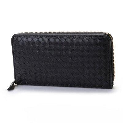 ヴィータフェリーチェ VitaFelice 羊革メッシュラウンドファスナー長財布 (ブラック)