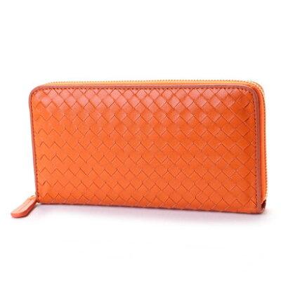 ヴィータフェリーチェ VitaFelice 羊革メッシュラウンドファスナー長財布 (オレンジ)