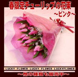 チューリップ 【春限定花束】【成人式】【春限定】【バレンタイン】入荷しました。チューリップの花束!!【送料無料】『ピンク系!チューリップ20本入りで大切なあの人に思いを贈ろう!!』