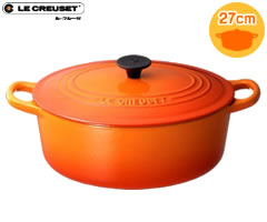 ココット・オーバル ル・クルーゼ/LECREUSET ココットオーバル27cm オレンジ (ルクルーゼ:両手鍋:楕円:正規輸入品:日本仕様)
