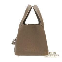 エルメス ピコタン バッグ(レディース) エルメス ピコタンロックPM エトゥープ トリヨンクレマンス シルバー金具 HERMES Picotin Lock bag PM Etoupe grey Clemence leather Silver hardware