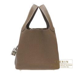エルメス ピコタン バッグ(レディース) エルメス ピコタンロックMM エトゥープ トリヨンクレマンス シルバー金具 HERMES Picotin Lock bag MM Etoupe grey Clemence leather Silver hardware