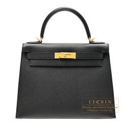 ケリー エルメス ケリー28/外縫い ブラック ヴォーエプソン ゴールド金具 HERMES Kelly bag 28 Sellier Black Epsom leather Gold hardware