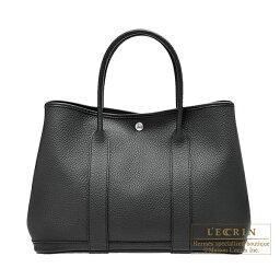 ハンドバッグ エルメス ガーデンパーティPM ブラック カントリー シルバー金具 HERMES Garden Party bag PM Black Country leather Silver hardware